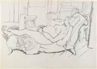 nudo disteso sul divano [recumbent nude on a sofa] by afro